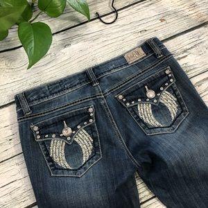 LA Idol Destroyed distressed embellished jeans 7